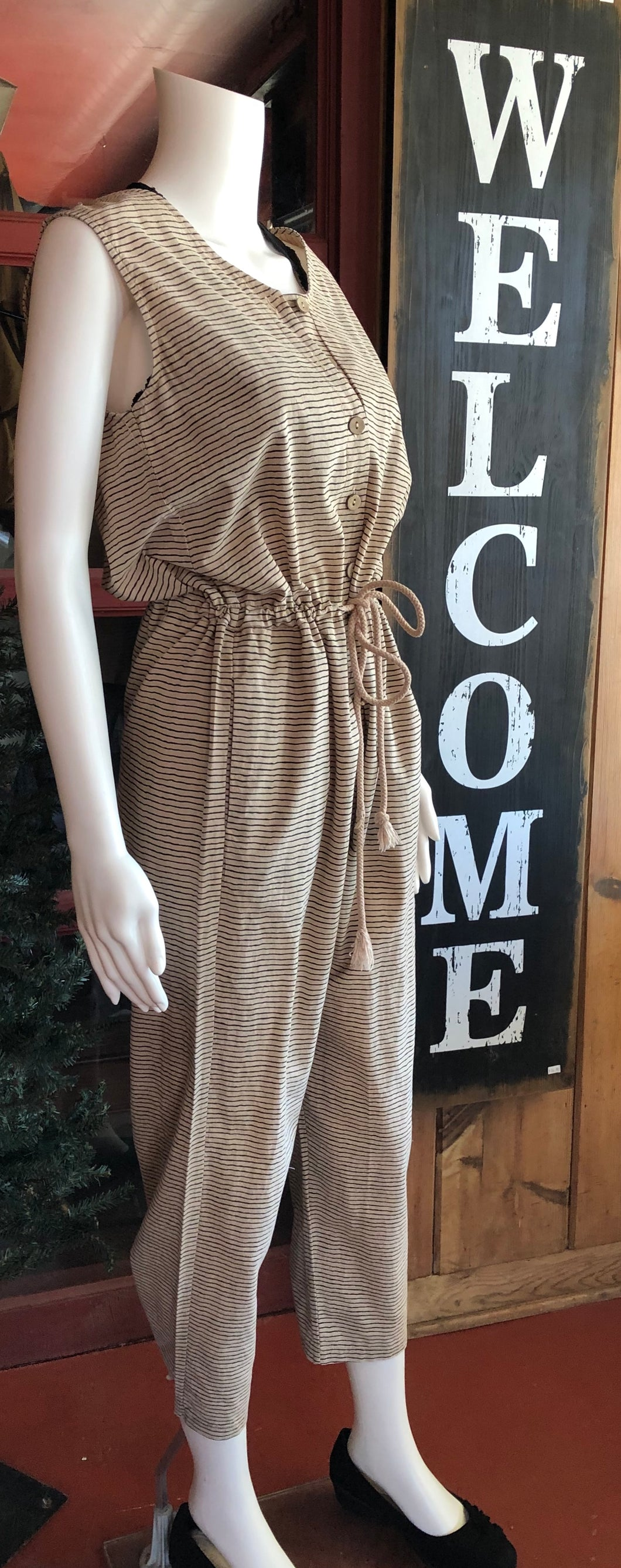 Sleeveless Tan Jumpsuit w/Black Thin Stripes