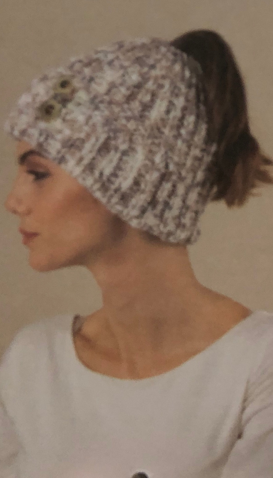 Knitted Winter Hat with Hole