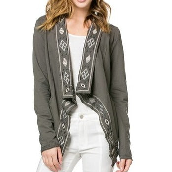 Draped navajo embroidered jacket