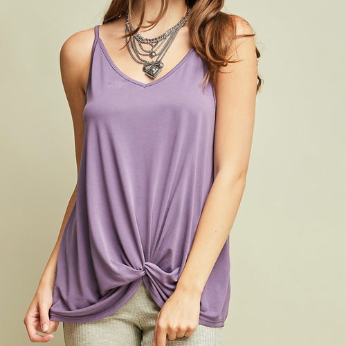 Purple Sweetheart Neckline Tank Top