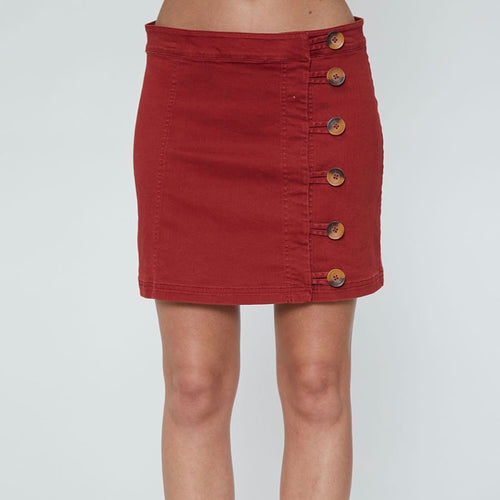 Red Solid Buttoned Skirt