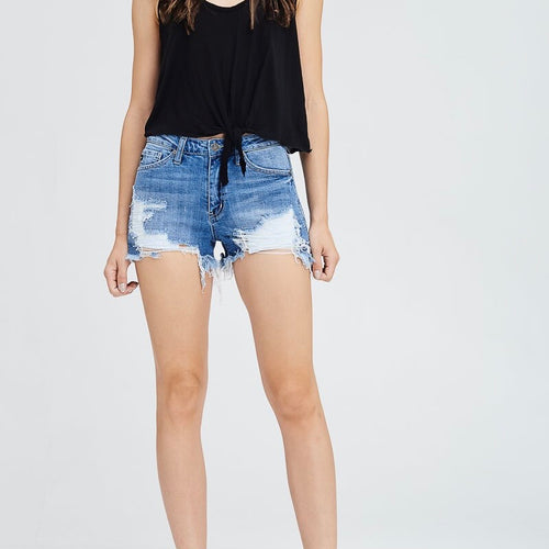 KanCan Kasia-Kofi Distressed Shorts