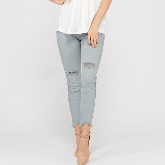 Mint Distressed Skinny Jeans