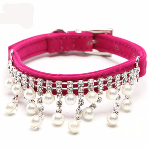 Dog Collar Bling Rhinestone Pearl Necklace