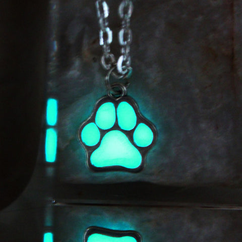 Luminous Dog & Cat necklace GLOW in the DARK night