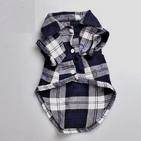Plaids Grid Shirt Lapel Costume Dog