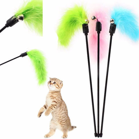 Cat Plastic Toy Feather Wand