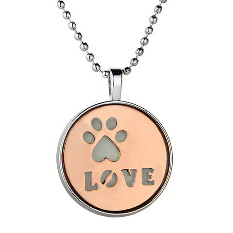 Luminous Glowing Pendant Necklace Dog Paw