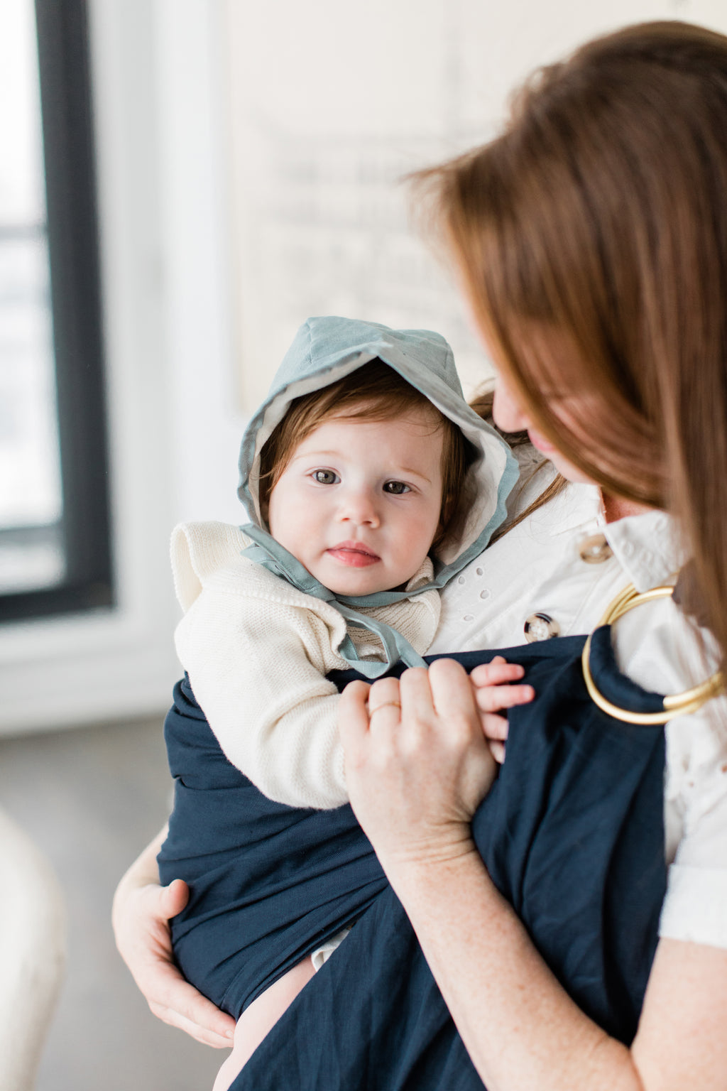 navy ring sling canada | baby carrier canada | Potter & Pehar Pettinger ring sling