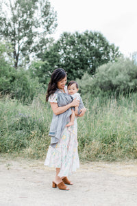 linen baby carrier | ring sling canada | baby sling carrier | Potter & Pehar grey ring sling