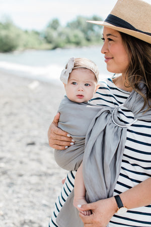 grey ring sling canada | baby carrier | Potter & Pehar linen ring sling