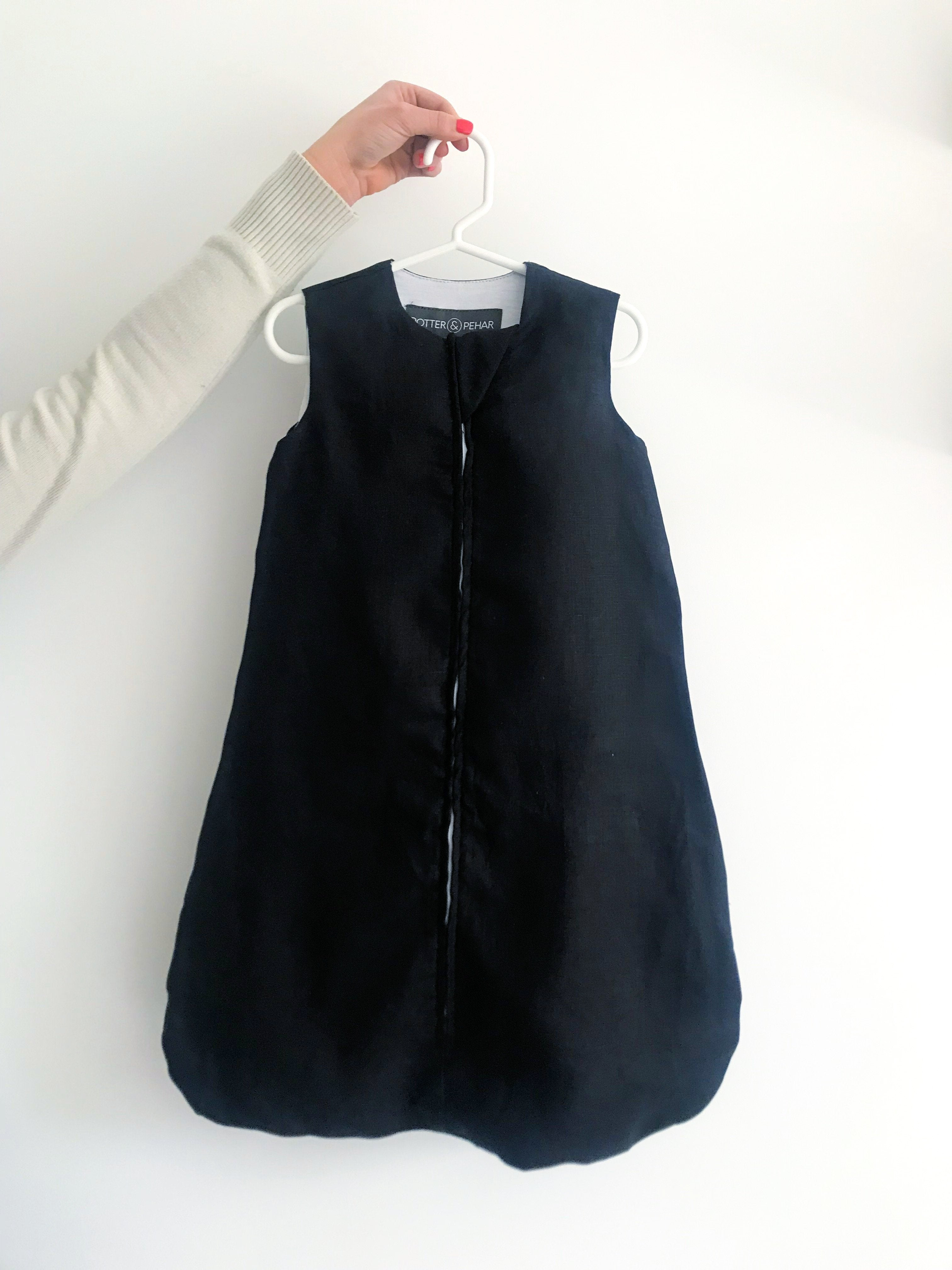 Black sleep sack | breathable baby sleep sack | newborn sleep sack  | linen and bamboo baby sleep sack