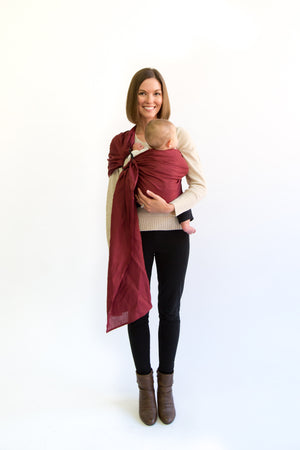 edward ring sling canada | baby carrier canada | Potter & Pehar burgundy ring sling