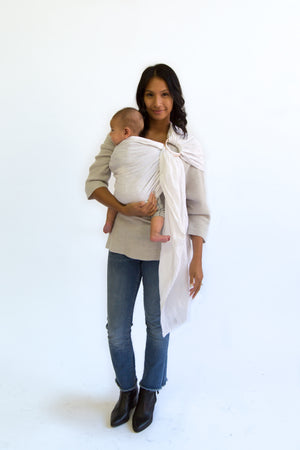 baby carrier | ring sling canada | baby sling carrier | Potter & Pehar white linen ring sling