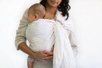 white ring sling canada | adjustable baby carrier | Potter & Pehar linen ring sling