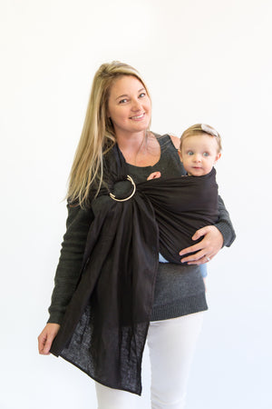 black ring sling canada | baby carrier | Potter & Pehar linen ring sling