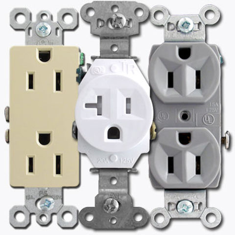 125 VAC, 15 Amp, 5-15R, White, Duplex Receptacle - Dalf-Point