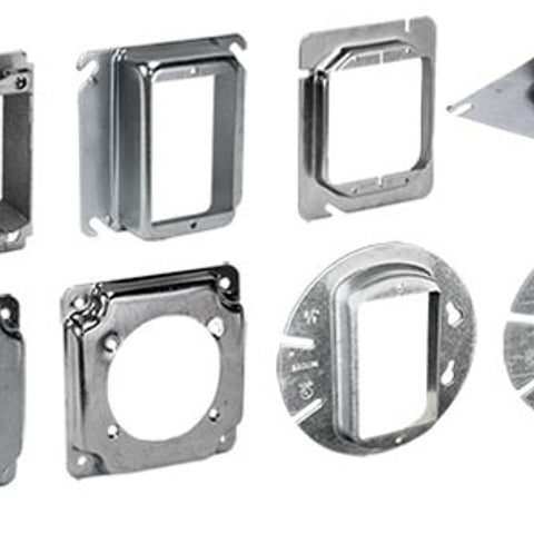 2-Gang, Steel, Flat, Square Box Mud Ring - Dalf-Point