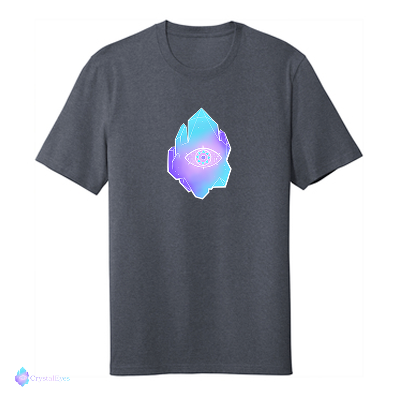 CrystalEyes Full Logo - Large Heather Navy Tee