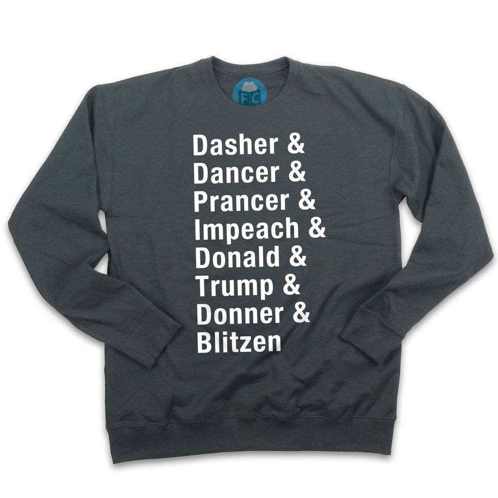 Dasher & Impeach Donald Trump Ugly Christmas Sweatshirt
