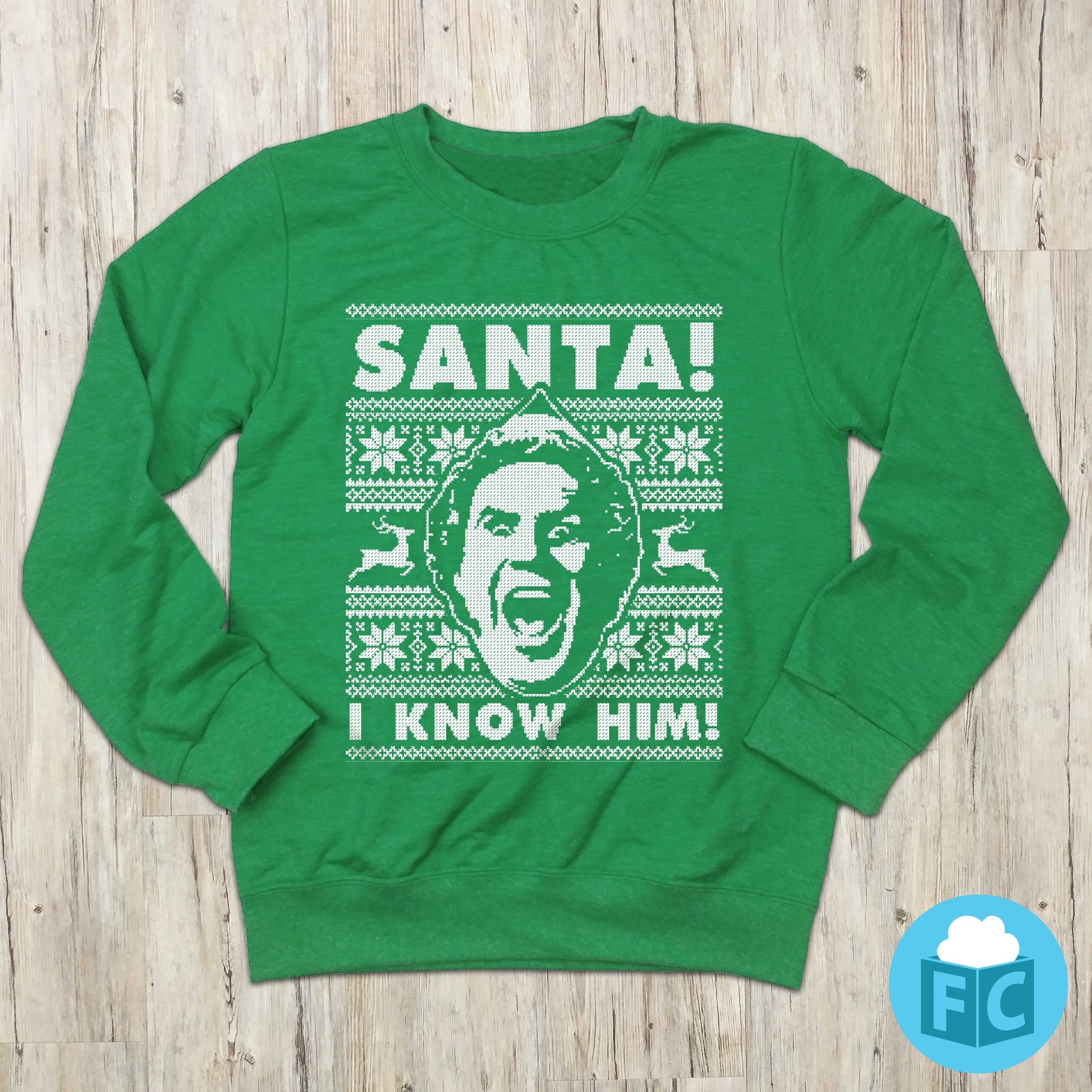 Santa I Know Him Movie Ugly Christmas Sweater Fluffy Crate