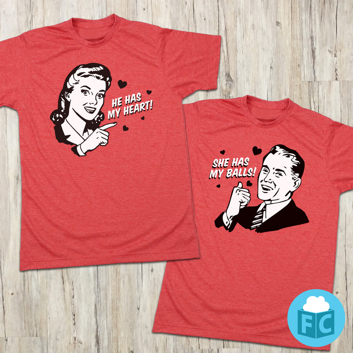 His & Her's Valentines Day Matching Tees