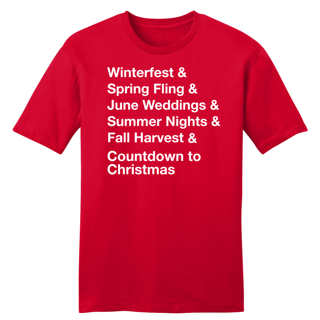 Winterfest & Spring Fling & June Weddings... Red tee