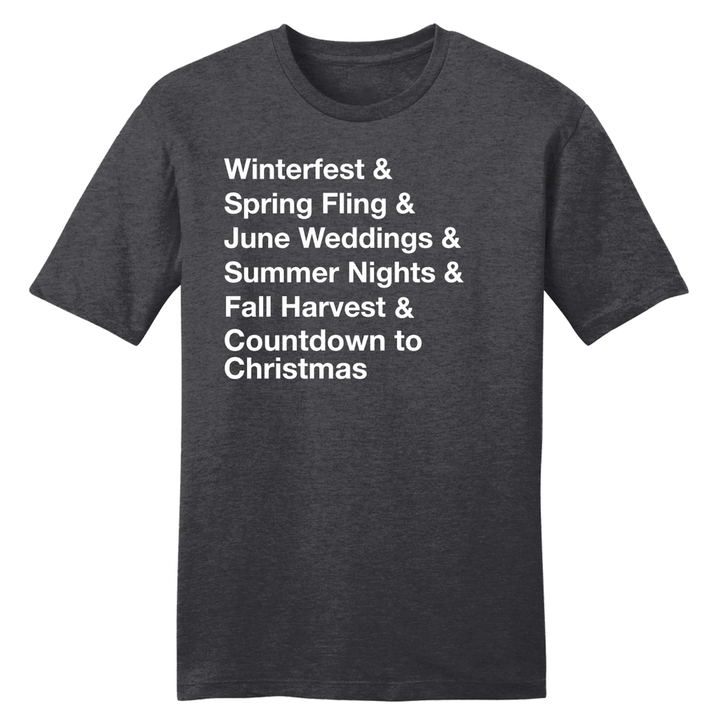 Winterfest & Spring Fling & June Weddings... Charcoal tee