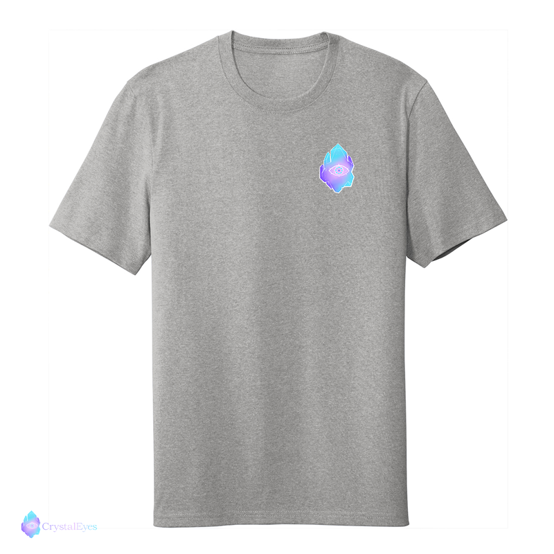 CrystalEyes Full Logo - Chest Heather Grey Tee