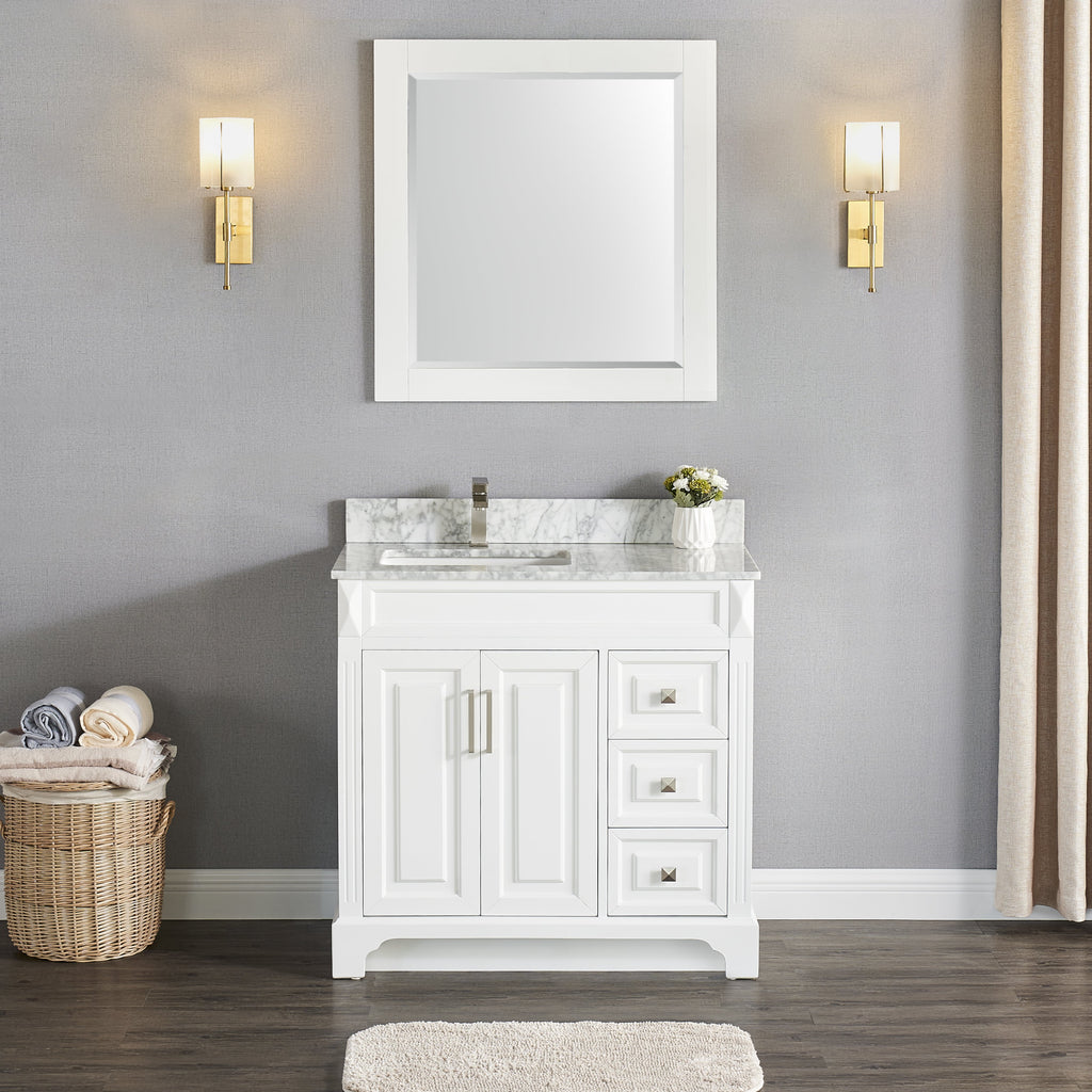 "1902-36L 36"" Bathroom Vanity Cabinet Marble Top and Sink Set"