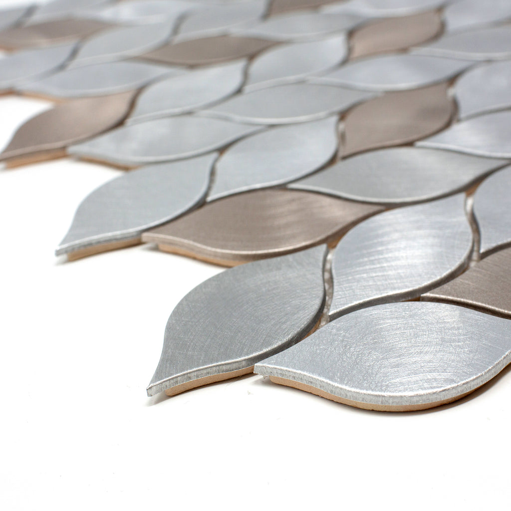 AFD-06 Aluminum Silver and Bronze Leaf Metal Mosaic Tile