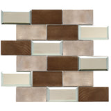 AFM-01  2x4 Subway Tile Brick Bronze Metal Mosaic Tile Sheet