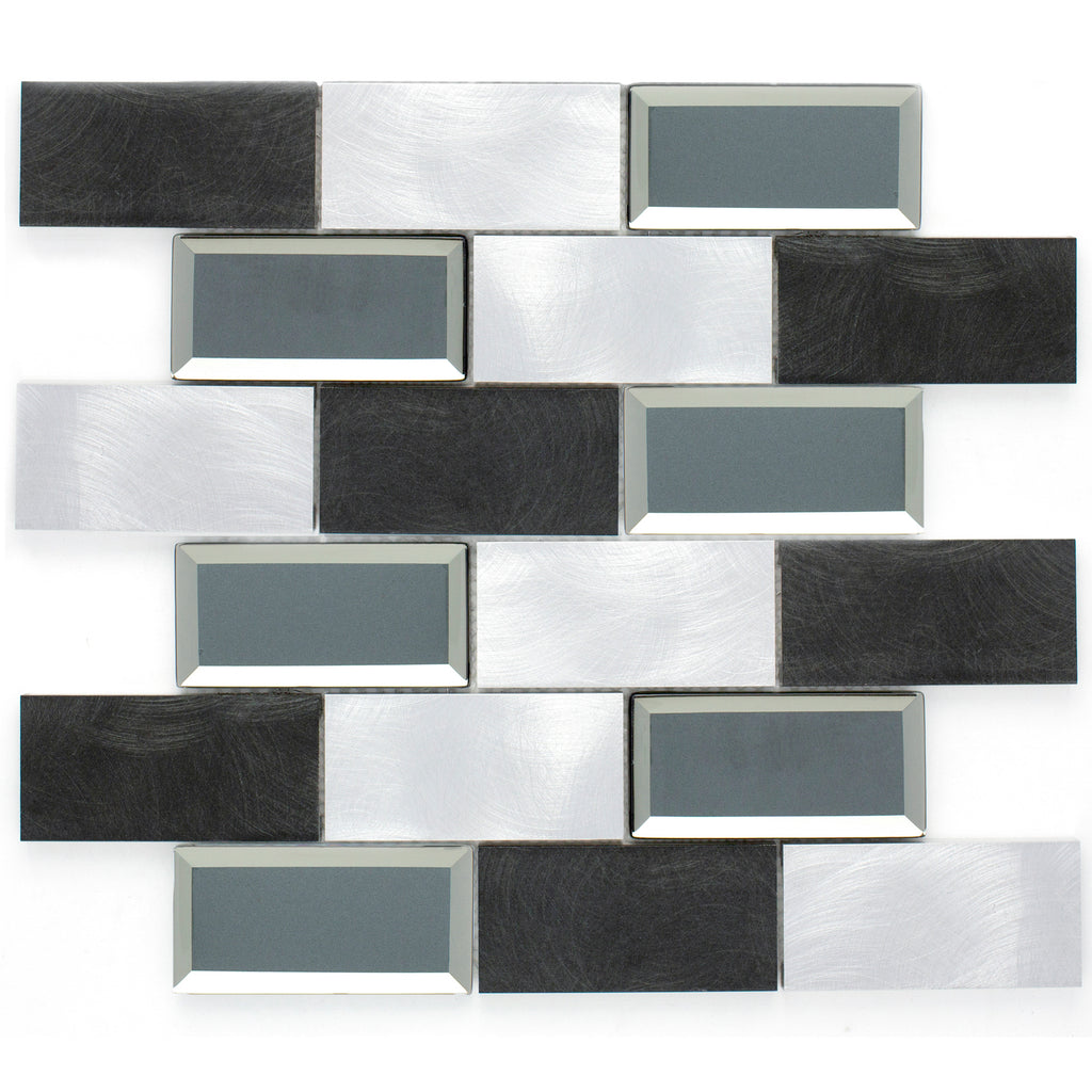AFM-02  2x4 Subway Tile Brick Grey Metal Mosaic Tile Sheet