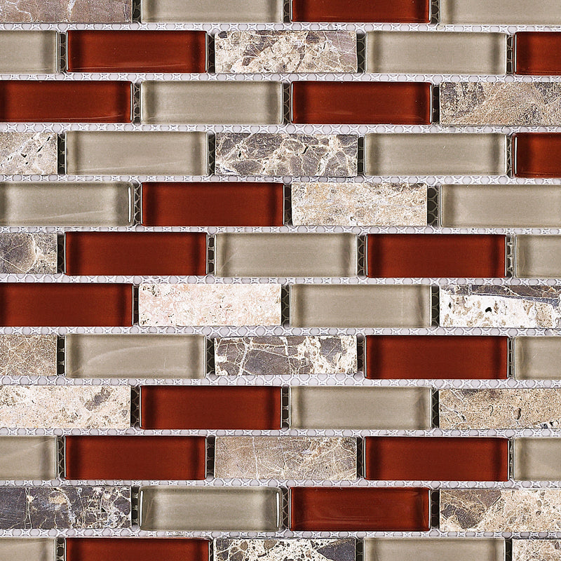 BCD-06  Cherry Mix Grey Brick Glass Mosaic Tile