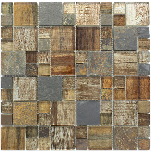 Bss 05 Brown Wood Look Glass And Stone Mosaic Tile Multi
