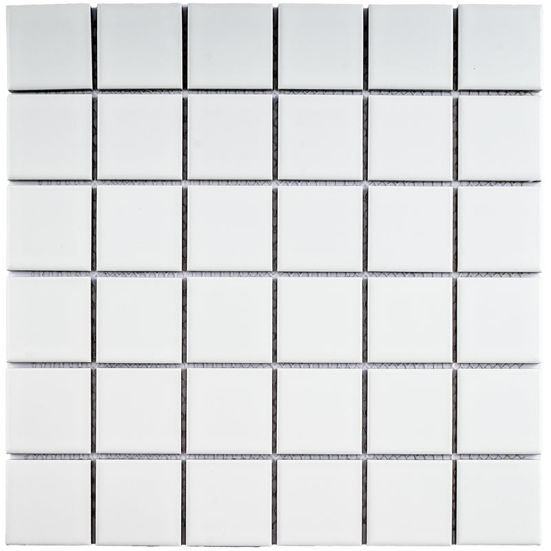 BT-PM08  2 X 2 White Porcelain Satin Mosaic Tile