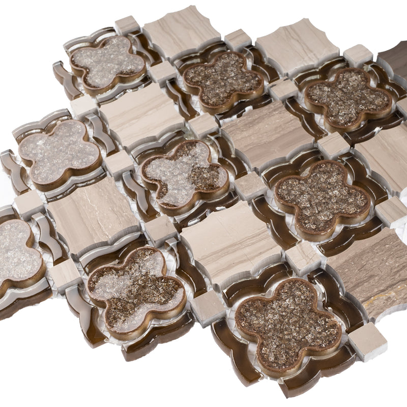 DAIY-03  Brown Crushed Glass Flower With Cream Marfil Mosaic Tile