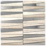 DL-01  Irregular Triangle Wooden Beige Marble and Silver Glass Mosaic Tile
