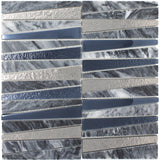 DL-03  Irregular Triangle Cloud Grey Marble and Matallic Glass Mosaic Tile