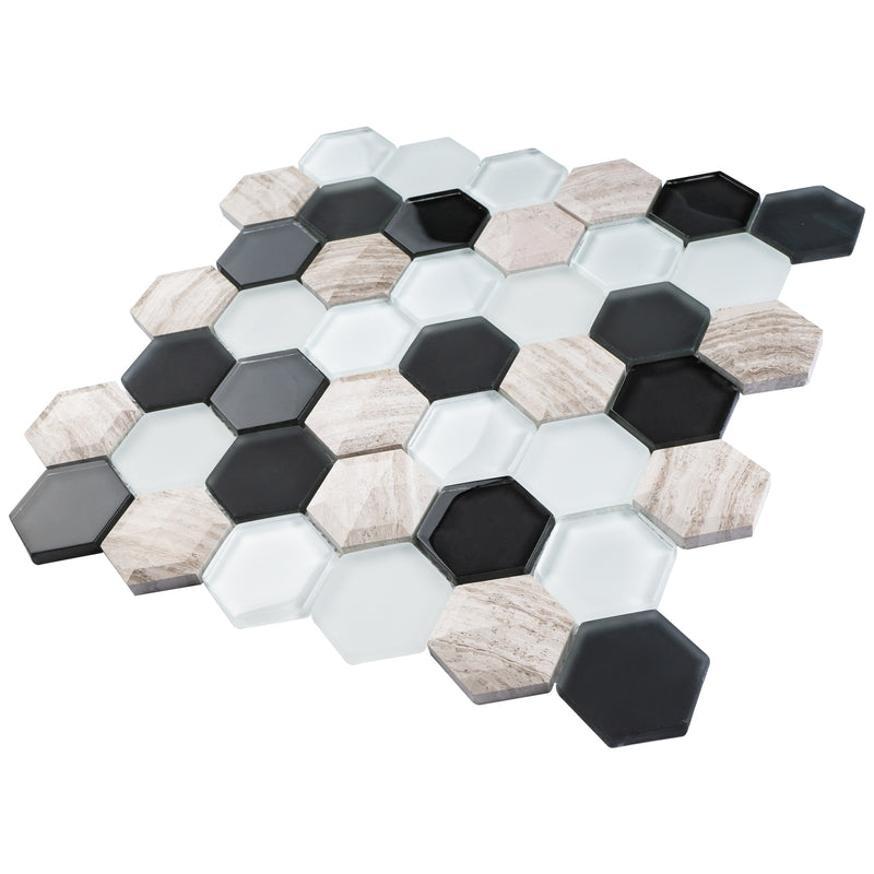 H3D-02  Honeycomb 3D Series - Abstract Mosaic Tile