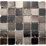 LTS-02 2x2 Squre Antique Grey Travertine Look Glass Mosaic Tile