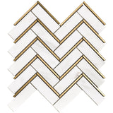 NBG-04 Natural Bianco Series - Herringbone White and Gold Metal Stainless Steel Polished Marble Mosaic Tile