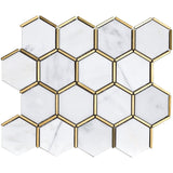 NBG-06 Natural Bianco Series - 3 in. Honeycomb Hexagon White and Gold Metal Stainless Steel Polished Marble Mosaic Tile