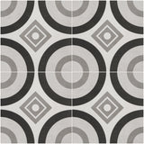 OR-GC25 ORNAMENTO Porcelain Grey Circle Field Tile - 9-5/8 in. x 9-5/8 in. x 3/8 MATT