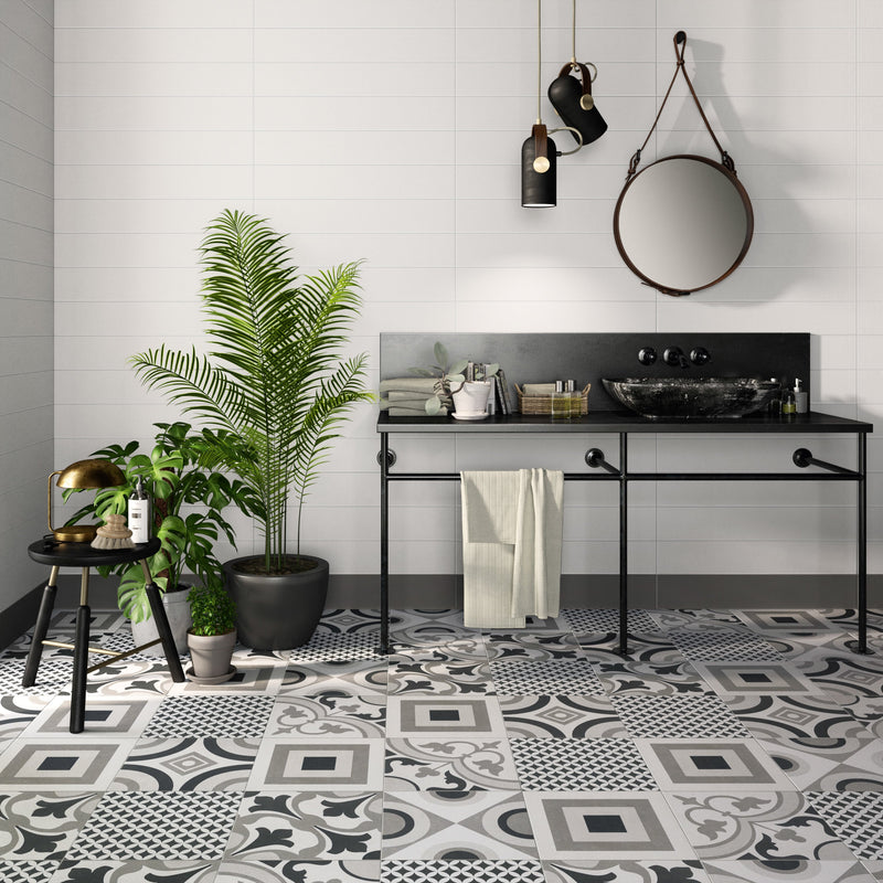"ORNAMENTO  Grey Geo Patterned Porcelain Field Tile 10""x10""  Wall & Floor"