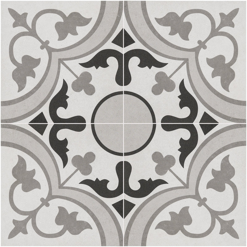 "ORNAMENTO  Grey Paint Patterned Porcelain Field Tile 10""x10"" Wall & Floor"
