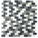 PRN-02 Paragon Series-Shell Grey Glass Mosaic Tile Backsplash