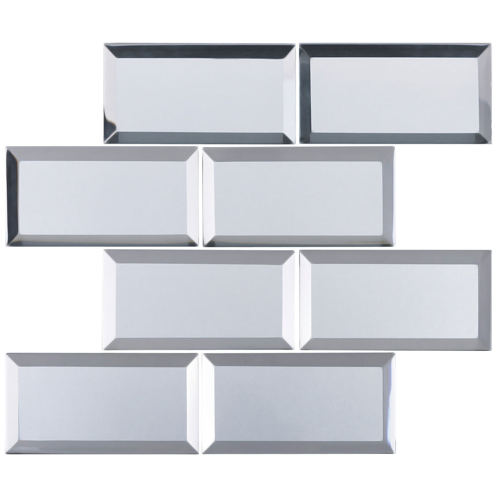 Rbm 01 3x6 Silver Glass Subway Tile With Bevel Multi Tile Inc