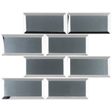 RBM-03 3x6 Grey Glass Subway Tile with Bevel