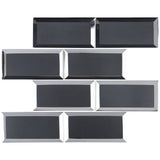 RBM-04 3x6 Charcoal Black Glass Subway Tile with Bevel